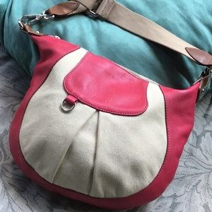 Furla leather and canvas crossbody